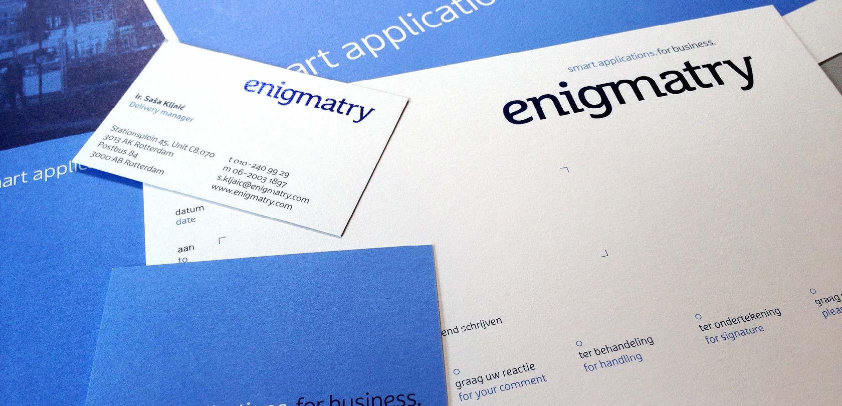 huisstijl Enigmatry - design: ontwerpbureau VA